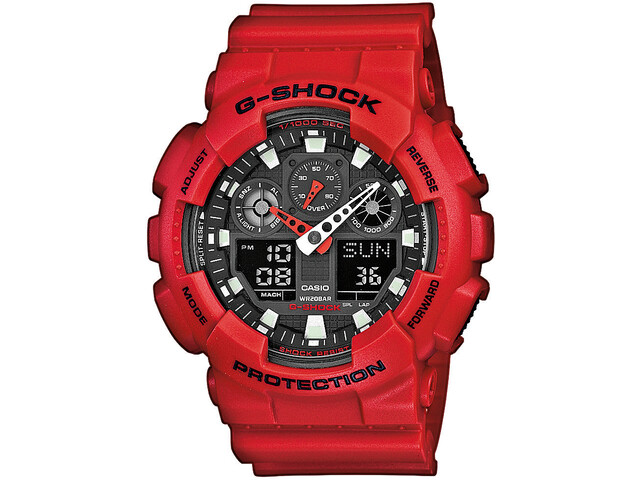 CASIO G-SHOCK GA-100B-4AER Watch Men, red/red/black